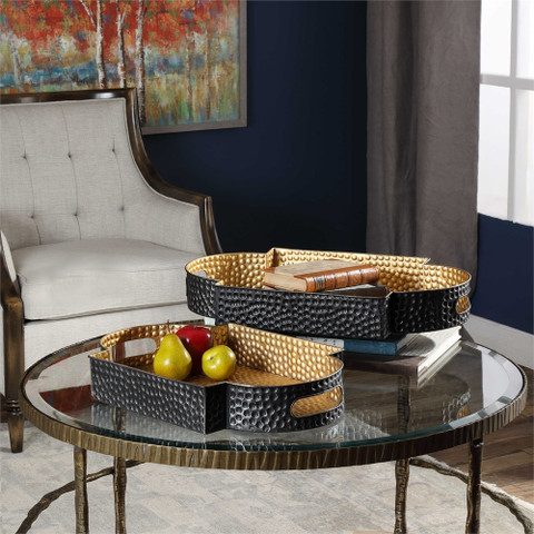 Metal Serving Tray, Bronze and Gold Ottoman Tray