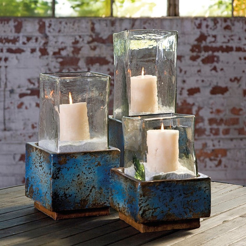 Tuscan Candle Holder, Terracotta Hurricanes