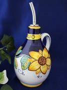 Tuscan Sunflower Olive Oil Bottle, Deruta Italy Olive Oil Bottle