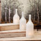 White Glass Cloche Bottles, 3 Piece Cloche Bottle Vase Set