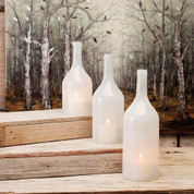 White Glass Cloche Bottles, 3 Piece Cloche Bottle Vase Set