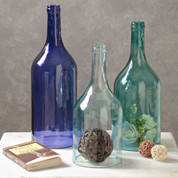Blue Glass Cloche Bottles, 3 Piece Cloche Bottle Vase Set