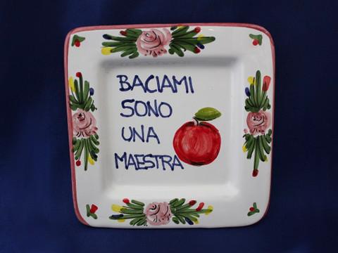Italian Wall Plaque, Italian Proverb Plate, Kiss Me I'm a Teacher