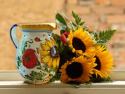 Italian Ceramic Pitcher, Tuscan Sunflower Pitcher