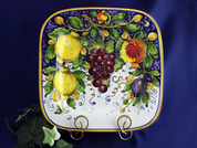 Tuscan Lemons Grapes Serving Platter, Tuscan Lemon Grapes Square Plate