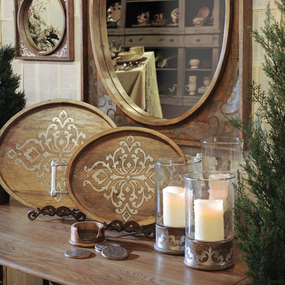 Admirable Regal Scroll Wood Metal Serving Trays Inzonedesignstudio Interior Chair Design Inzonedesignstudiocom