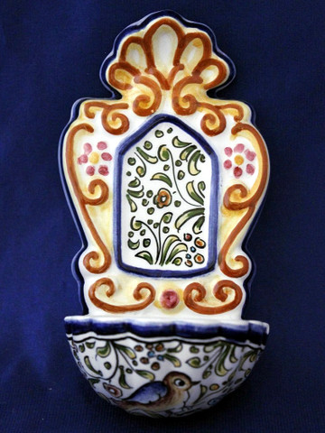 Portugal Holy Water Font, Arabesco Bird Holy Water Font
