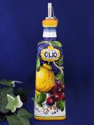 Tuscan Lemons Grapes Olive Oil Bottle, Jumbo Italian Olive Oil Bottle