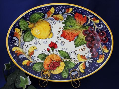 Tuscan Lemons Grapes Fruit Serving Platter