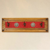 Tuscan Rustic Coat Rack, Red Leather Concho Coat Rack