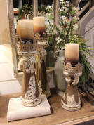 Carved Wooden Candle Holders, Old World Candle Holders