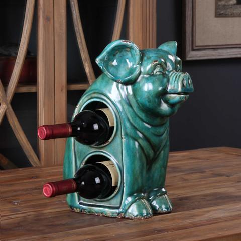 Ceramic Pig Wine Rack, Pig Wine Holder