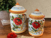 Tuscan Poppies Biscotti Jar Canister