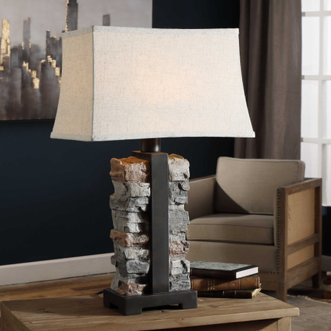 Stacked Stone Concrete Table Lamp