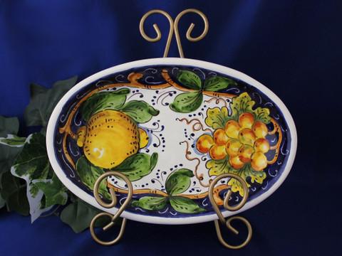 Tuscan Lemons Grapes Serving Dish