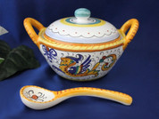 Deruta Raffaellesco Cheese Bowl, Deruta Raffaellesco Sugar Bowl