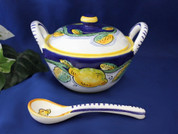 Deruta Tuscan Lemons Cheese Bowl, Deruta Tuscan Lemons Sugar Bowl