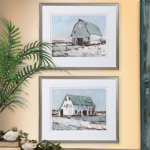 Barn Wall Art, Tuscan Farmhouse Winter Barn Wall Art