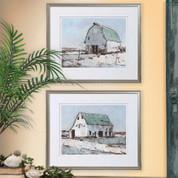 Barn Wall Art, Tuscan Farmhouse Winter Barn Wall Art
