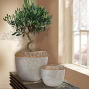 Tuscan Vase Urn, Rustic Bowl, Rattan Vase