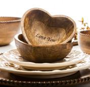 Wooden Heart Bowls, Wooden Love Heart Bowls