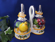 Italian Lemons Grapes Oil & Vinegar Set