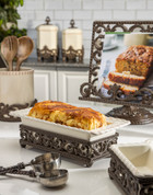 European Style Bread Loaf Dish, Ceramic & Metal Serving Dish