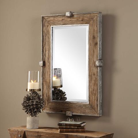 Tuscan Rustic Siringo Fir Wood & Metal Mirror
