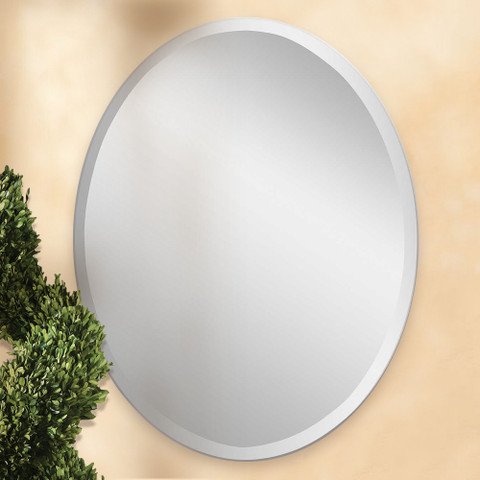 Frameless Oval Mirror, Polished Edge Oval Mirror