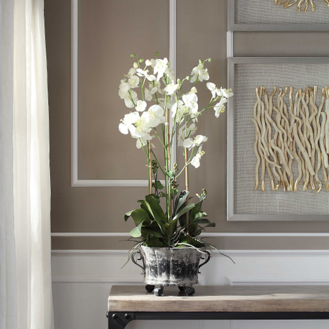 Silk Orchid Potted Plant White