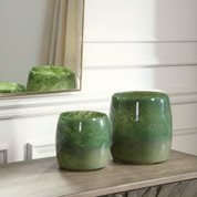 Green Glass Vases, Tuscan Style Vases