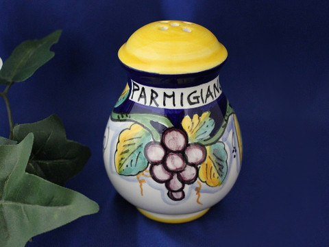 Deruta Lemons Grapes Cheese Shaker, Ceramic Cheese Shaker Handmade in Italy