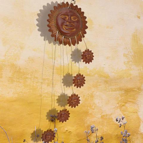 Clay Sun Face Wind Chime, Tuscan Sun Wall Decor