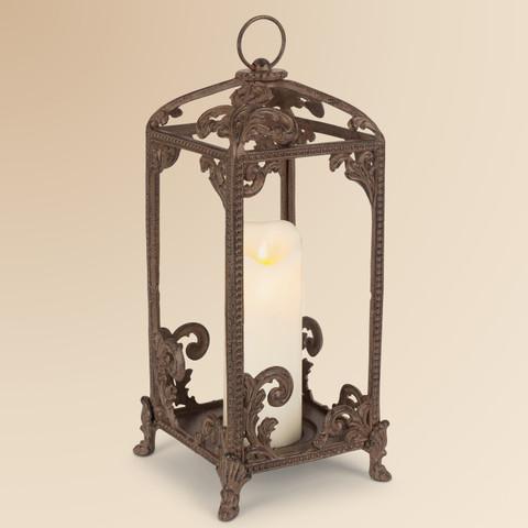 Tuscan Style Lantern, Metal Scroll Lantern
