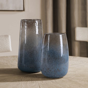 Blue Seeded Glass Vases