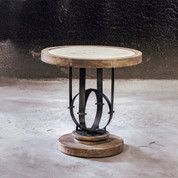 Rustic Stone & Iron Wooden Side Table