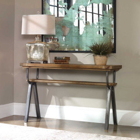 Reclaimed Wood and Iron Console Table, Domini Console Table