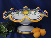 Deruta Lemon Pedestal Bowl, Deruta Lemon Bowl, Deruta Pedestal Bowl