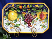 Tuscan Lemons Grapes Octagonal Serving Platter