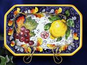 Tuscan Lemons Grapes Octagonal Serving Platter
