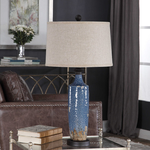 Distressed Khaki & Blue Ceramic Francesca Lamp