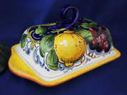 Italian Lemons Grapes Butter Dish