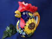 Italian Rooster Pitcher, Tuscan Sunflower Rooster Pitcher