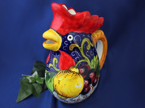 Italian Rooster Pitcher, Tuscan Lemons Grapes Rooster Pitcher