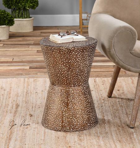 Antiqued Copper Bronze Drum Table
