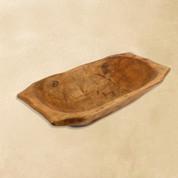 Deep Wooden Dough Bowl with Handles Natural Wax