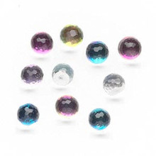 10 Clear Vitrail 8mm Flat Bottom Faceted Round Glass Embellishments *