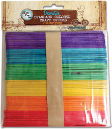 150 Flat Smooth Standard Colored Craft Sticks ~ Altered Art *