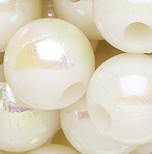 100 Grams Acrylic Aurora Borealis Opaque White 4mm Round Beads
