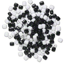 200 Opaque Black & White Acrylic 10x9mm Square Beads *
